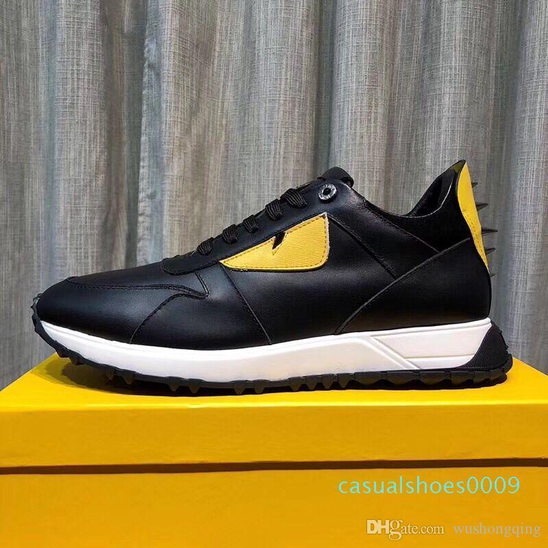 2019 أعلى جودة FD فاخر الماركات FUN الفراء مصمم أحذية حذاء جلد طبيعي هدية الرجال النساء المتسابق الساخن بيع الرياضة C09 عارضة