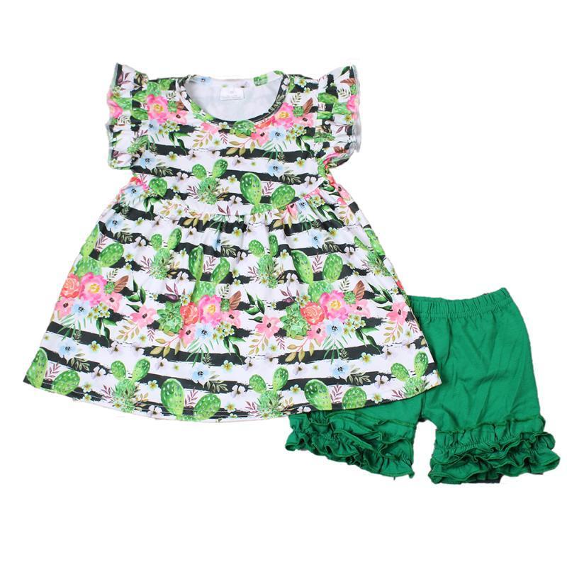 Meilleure vente en gros RTS Bébés filles Vêtements d'été Mode Casual Cactus Tunique Vert solide couleur Icing Shorts Outfit