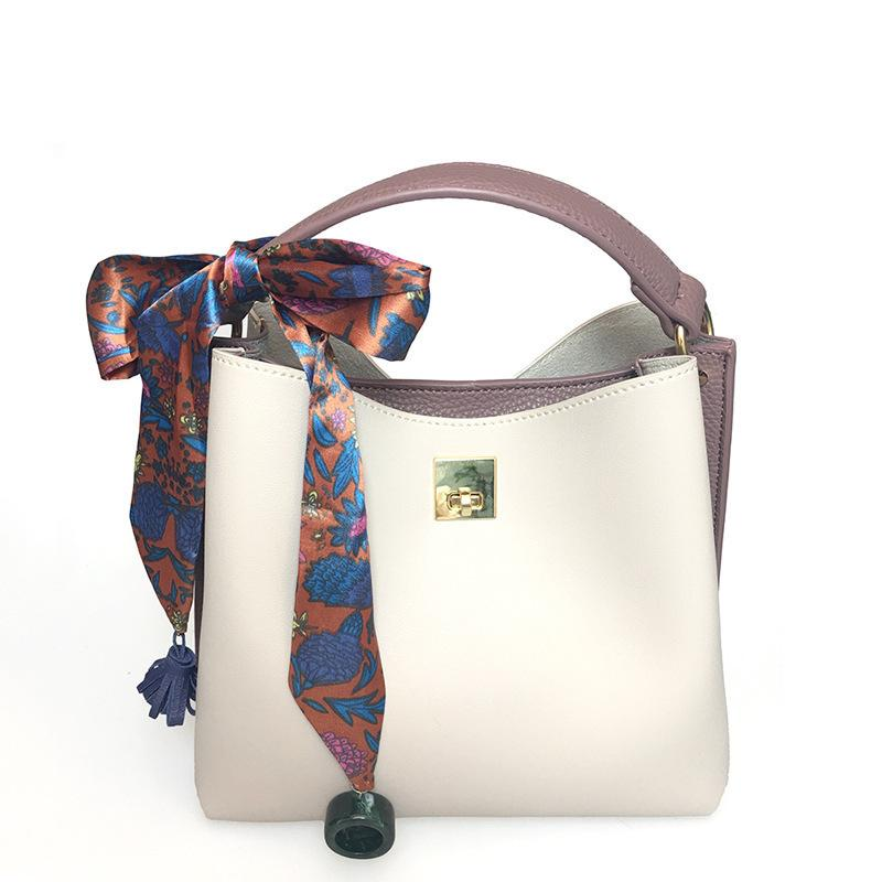 Free2019 Color Hit Bucket Woman Package Silk Scarf Bag Hand Carry Concise Oblique Satchel Single Shoulder Will