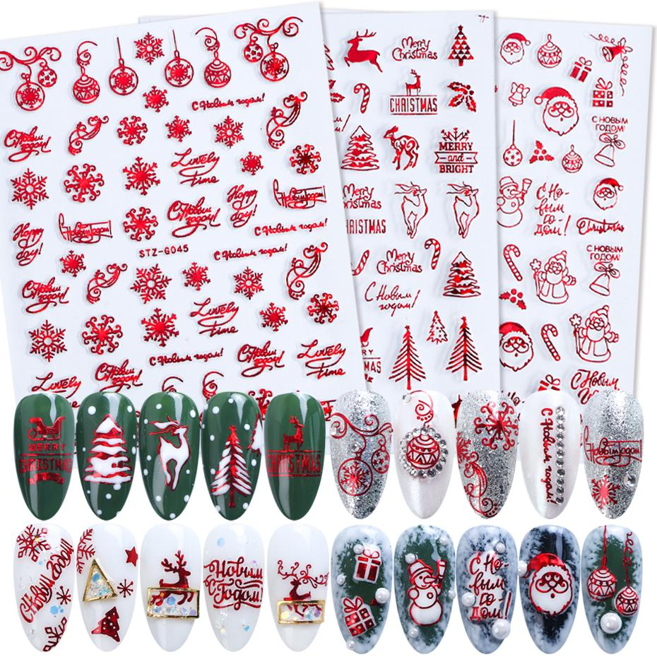 Nail Art Stickers & Decals 1pc Laser Glitter Christmas Nail Sticker Red Snowflake Elk Santa Design Stickers For Nails 3D Manicure