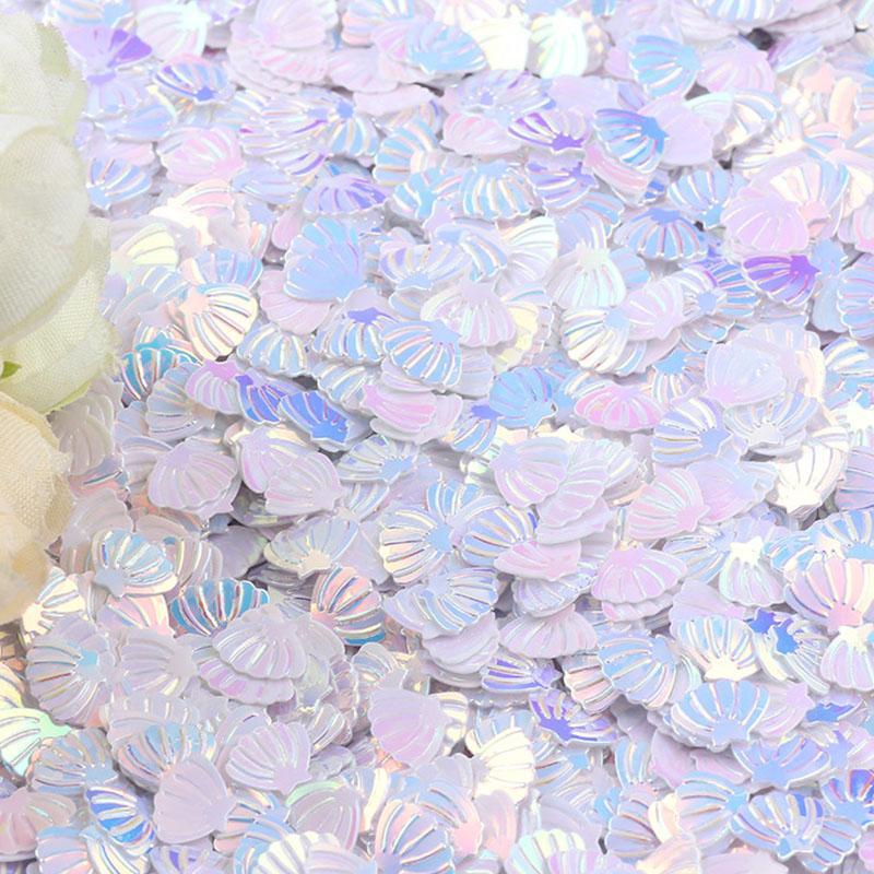 50g Irisierende Sparkle Shell Glitter Konfetti 7 MM Lila Für Baby Shower Konfetti Party Tisch Scatter Decor DIY Supplie