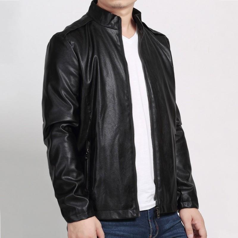 Moda Erkek Sahte Sheepskin Deri Ceket Standı Yaka İş Adamı Casual Pu Deri eskitmek Coat Plus Size 7XL Biker ceketler