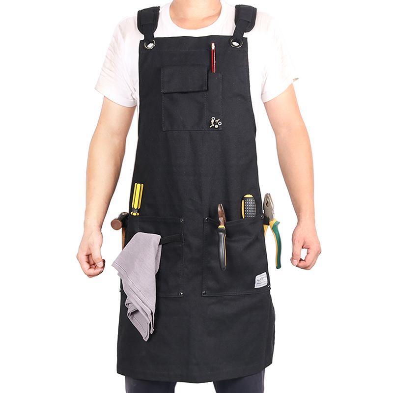 WEEYI сверхмощный черный вощеный холст мастерская фартук мужчины с карманами крест назад ремень для столяра сапожника парикмахера маленький до XXL Y200103