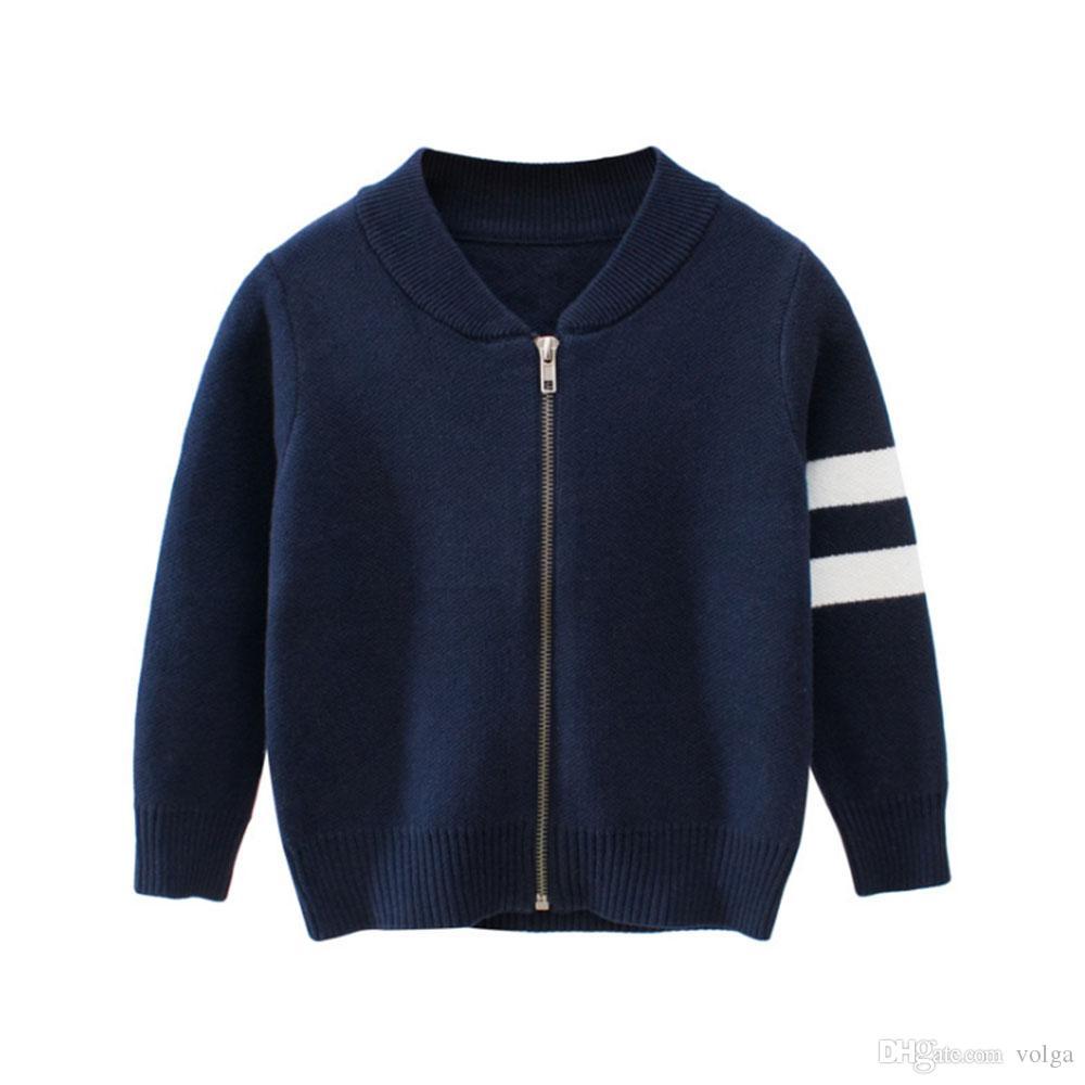 Enfants Pull rayé Tops enfants garçon en tricot Automne Hiver Chandail Baseball manteau Nouveau Veste enfant en bas âge Vêtements Vêtements d'extérieur