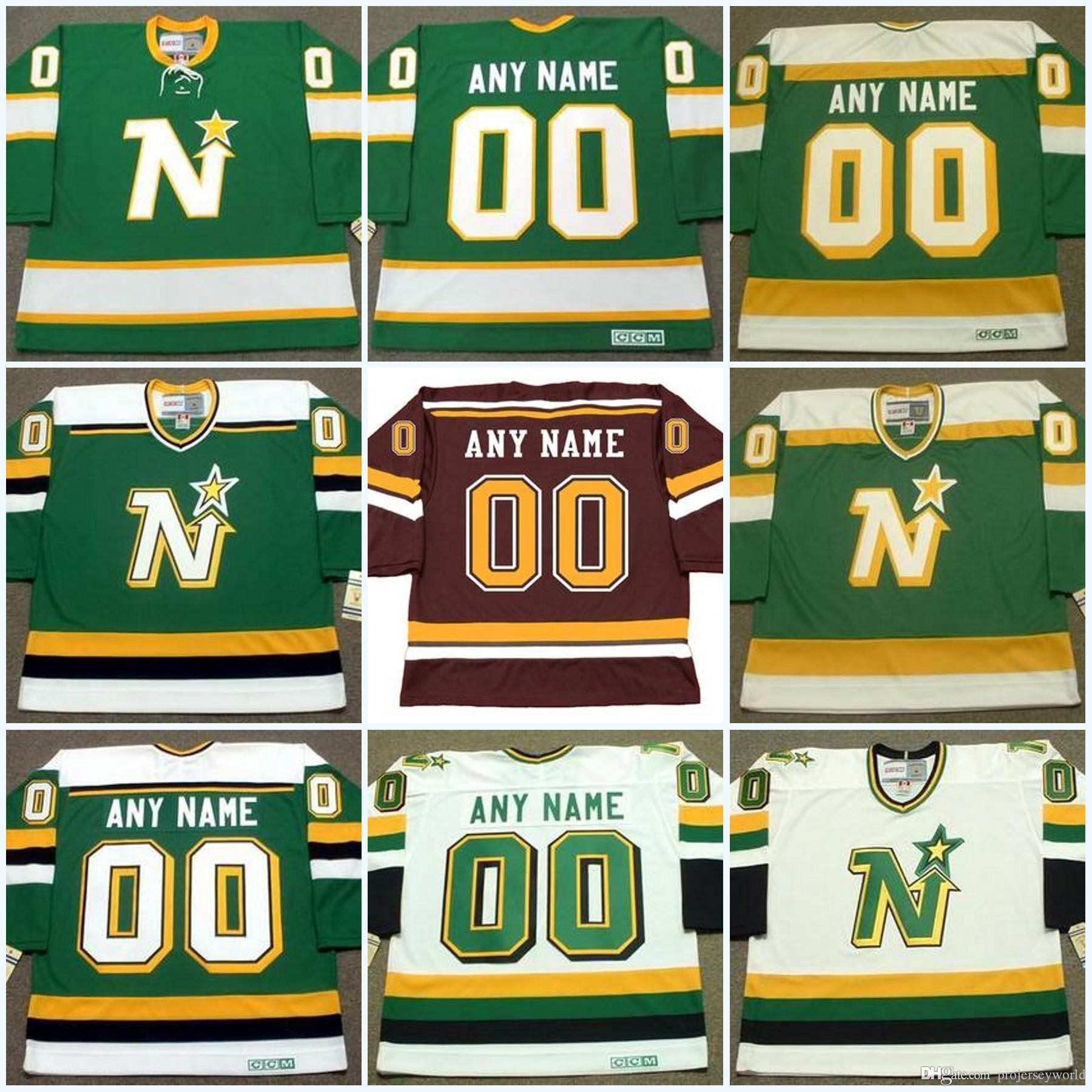 Minnesota North Stars Jersey personalizzato con qualsiasi Nome Numero Vintage Hockey Jerseys Personalizzato tutto Scheded Mix Order