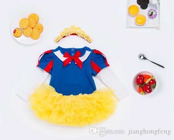 Белоснежка ползунки платье принцессы косплей детская одежда наборы дети девушки платья ну вечеринку младенцев / малышей костюм одежда