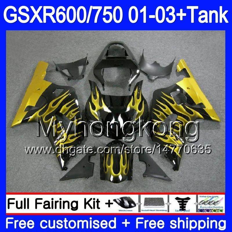 +Tank For SUZUKI GSXR 600 750 Gold Flames Stock GSXR 750 GSXR600 2001 2002  2003 294HM 66 GSX R750 R600 K1 GSX R600 GSXR750 01 02 03 Fairing Motorcycle