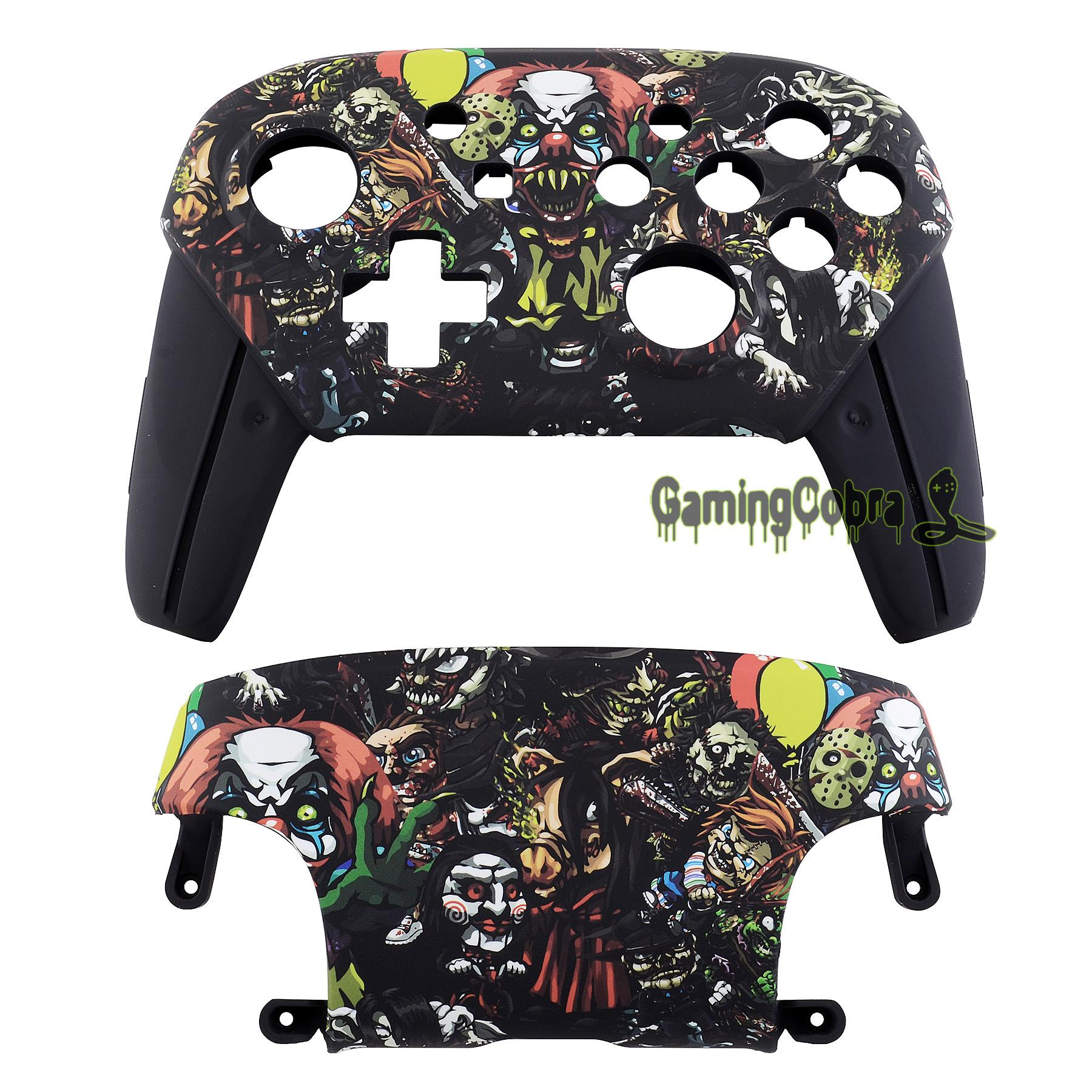 Effrayant Party Patterned Soft Touch et Faceplate Backplate Shell de remplacement Coque Cover NS Changer Pro Controller