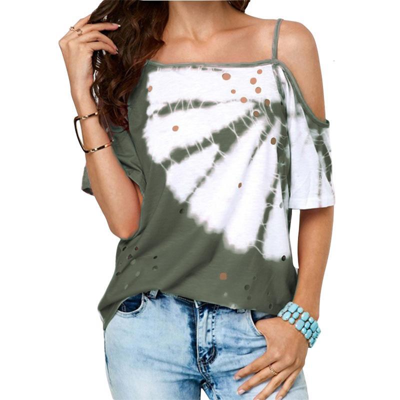 Летний взрыв футболки женщин 2019 горячей продажи диагональные шеи подвязки вскользь верхние части Т-рубашки женщин вскользь печать полая футболки женская для одежды,