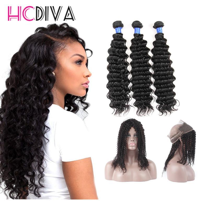7A Brezilyalı Virgin Saç Paketler Derin Dalga Saç 3 Demetlerine ile 360 Dantel Frontal% 100 İşlenmemiş Bakire İnsan Saç Uzantıları boyanabilme Kalın