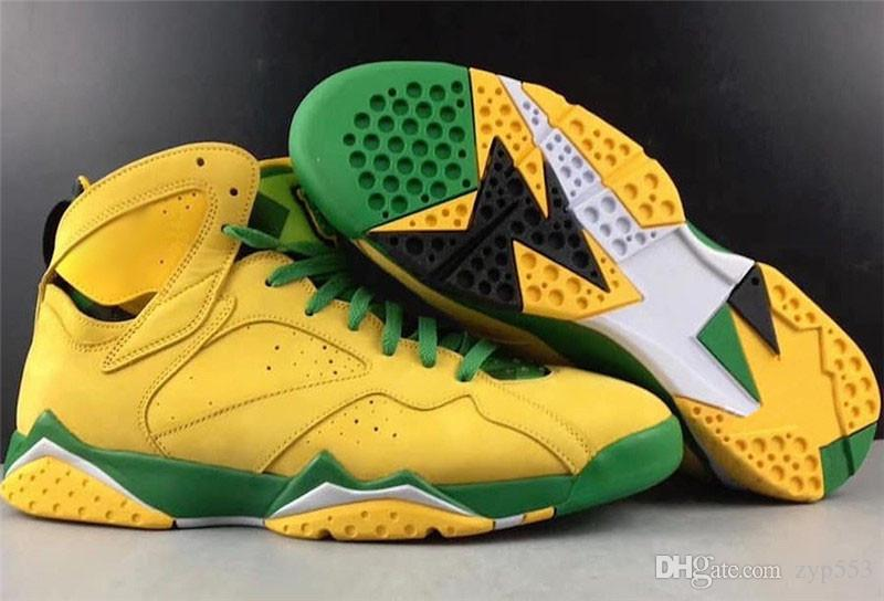 2020 New autentico Aria 7 Oregon Ducks PE UO Retro GIALLO SCIOPERO MELA VERDE 7S scarpe da basket Uomo Donna Limited Sports scarpe da tennis con la scatola