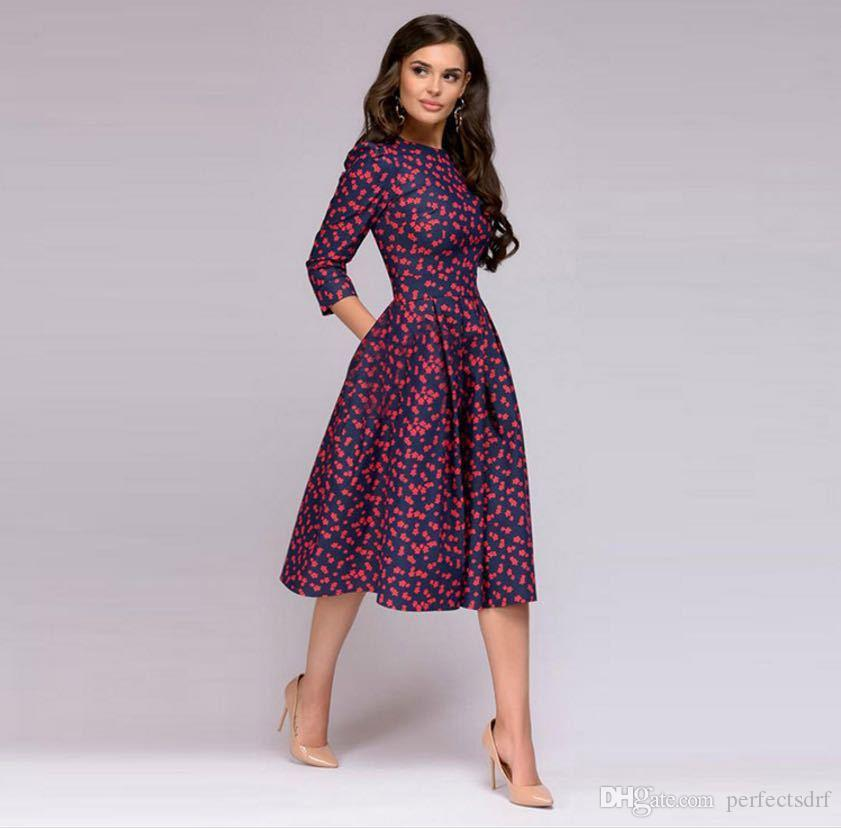 Vintage Dresses for Women,Women Vintage Bodycon Long Sleeve O Neck Evening Printing Party Prom Swing Dress