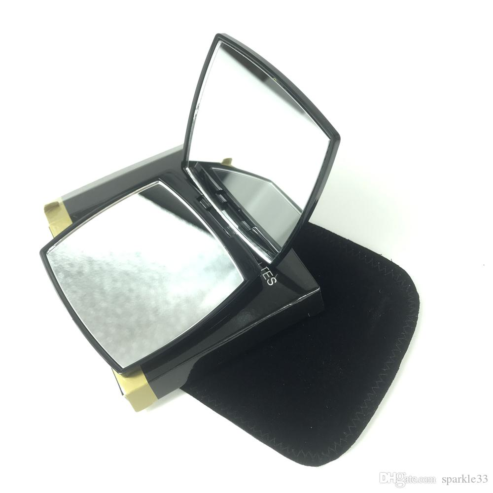 Cosmetic mirror black velvet set Stainless steel face small Square mirror lady fashion makeup magnify clear mirror gift box