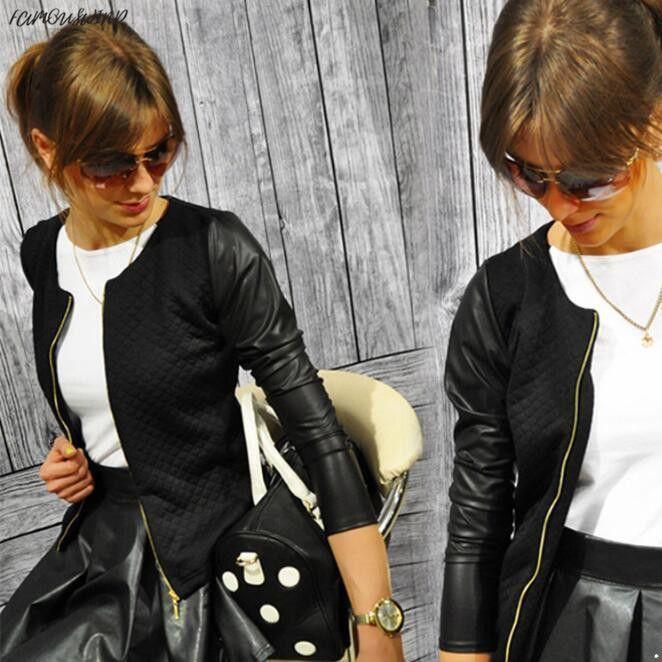 Giacche basic da donna Giacche Primavera Cuoio nero Ecopelle Cerniera 2019 Giacca in PU Punk Style Bandage Donna Pu Giacca in pelle Cappotto Top corto