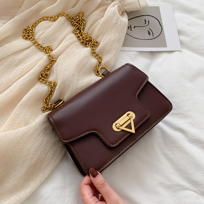 cerradura sencilla moda bolso femenino 2020 nueva bolsa de la cadena femenina del mensajero pequeño nicho de Corea del retro cuadrado