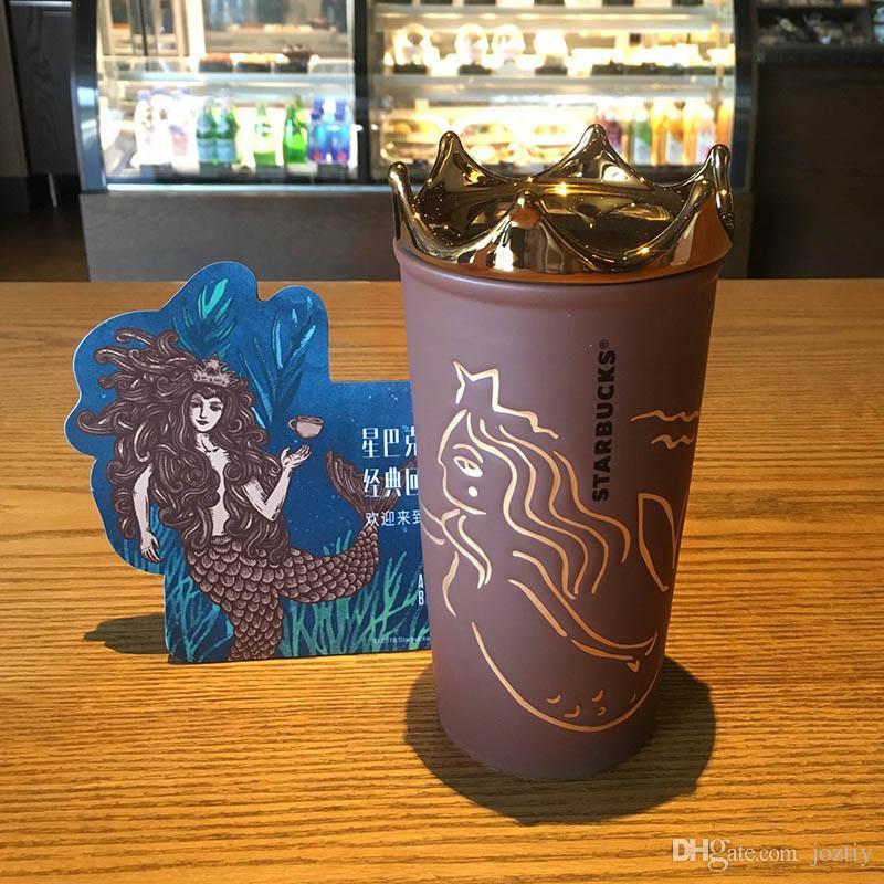새로운 스타 벅스 인어 여신 왕관 갈색 커피 컵 2018 기념일 더블 도자기 머그잔 355ml 골든 크라운 커버