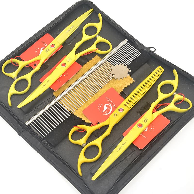 Meisha 7.0 Inch Japan 440c Big Animals Scissors Set with Comb Yellow Straight Curved Dog Cutting Shears Pet Grooming Thinning Tesoura HB0194