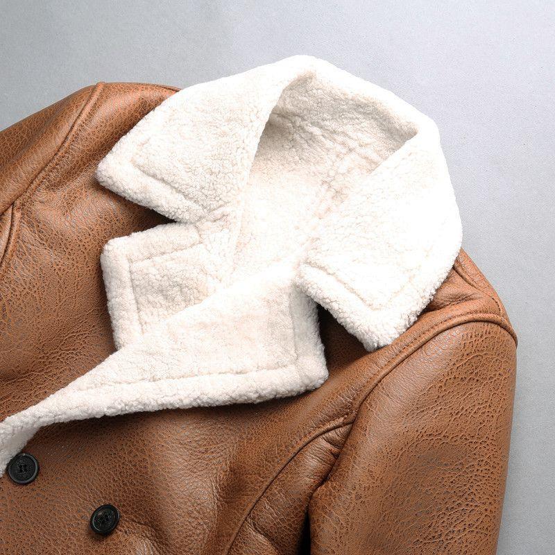 롱 스타일 AVIREXFLY 양 가죽 정품 가죽 재킷 더블 브레스트가있는 라펠 모직 양 모피 안감 재킷