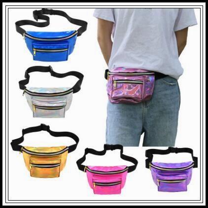 7 Colors Laser Waist Bag Waterproof PU Waist Pack Hologram Chest Beach Bags Belt Bag Unisex Pocket Laser Fanny Pack CCA9732 12pcs