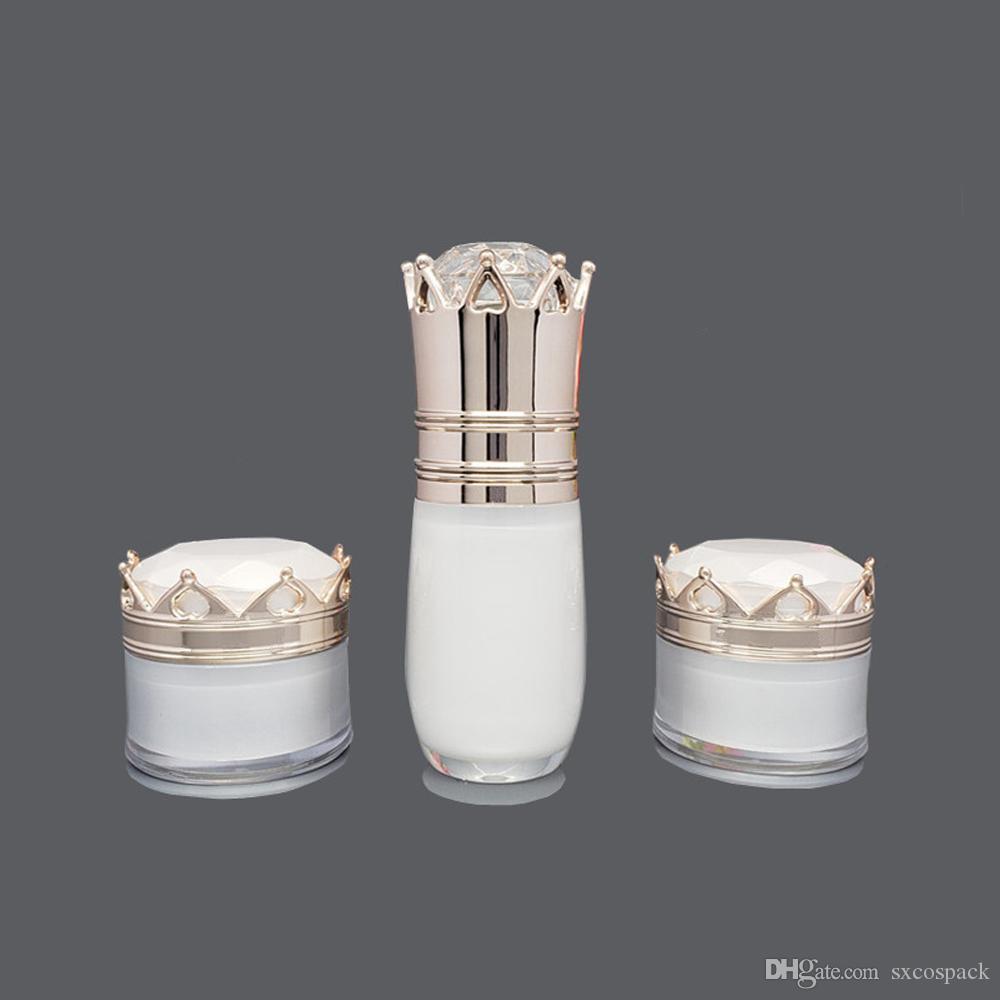 Lüks Plastik Krem Konteyner 5g İnci Beyaz Akrilik Crean Kavanoz, Taç Şekli Kozmetik Göz Kremi Şişe