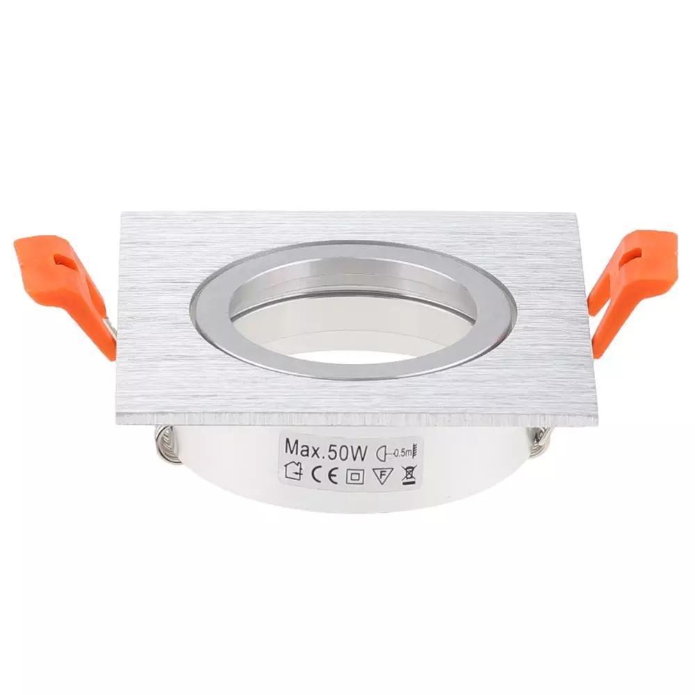 Spotlight Escova De Prata Quadrado Recesso Para Baixo Luz Ajust AVEL Quadro Para Focos Led Recorte Jk0641