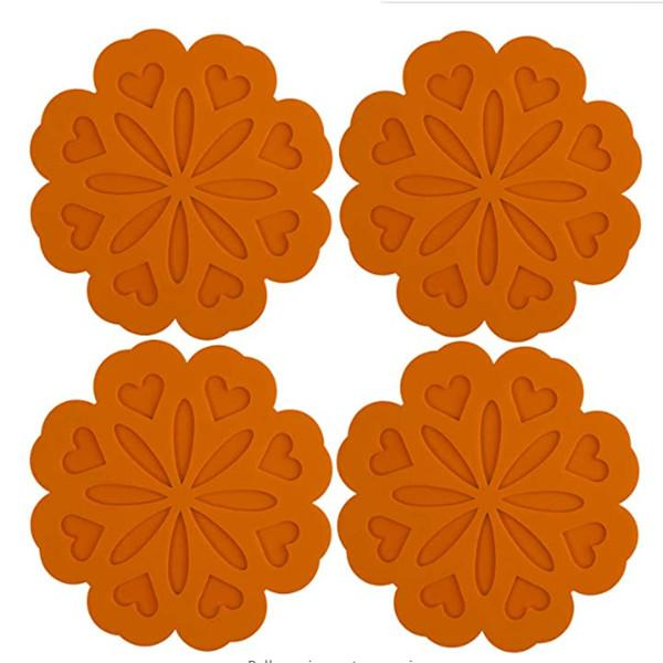 4 Set Silicone Pot Holders, Trivet Mat, Jar Opener, Spoon Rest and Kitchen Trivet, Non Slip Flexible, Durable, Heat Resistant orange