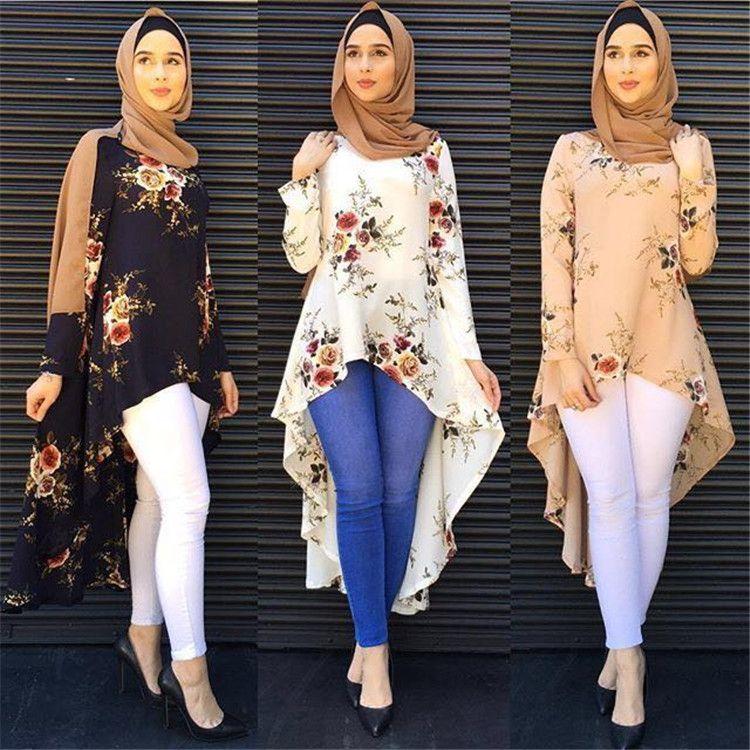 Fashion Muslim clothing long sleeve print shirts blouse for women Loose Blouse Hem Tops turkey islam