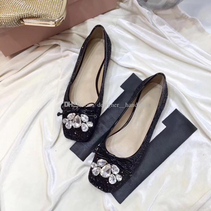 Designer Mulheres Casual Shoes Fall Primavera Sapatos de couro genuíno Flash Light Pó Diammonds bowknot Ladiy do homem