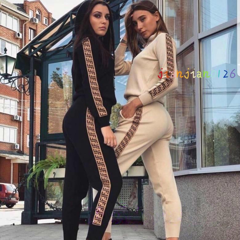 Avrupa ve Amerikan sınır ötesi sıcak satış 2020 bayan spor giyim moda yeni kadın kapüşonlu kazak takım elbise iki parçalı