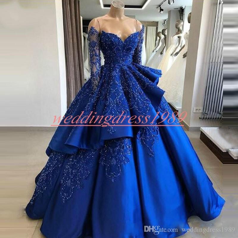Lussuoso 2019 Royal Blue Ball Abiti Da Sera Perline Tiers Satin Manica Lunga Abiti Da Ballo Arabo Vestido de noche Formale Pageant Party Dress