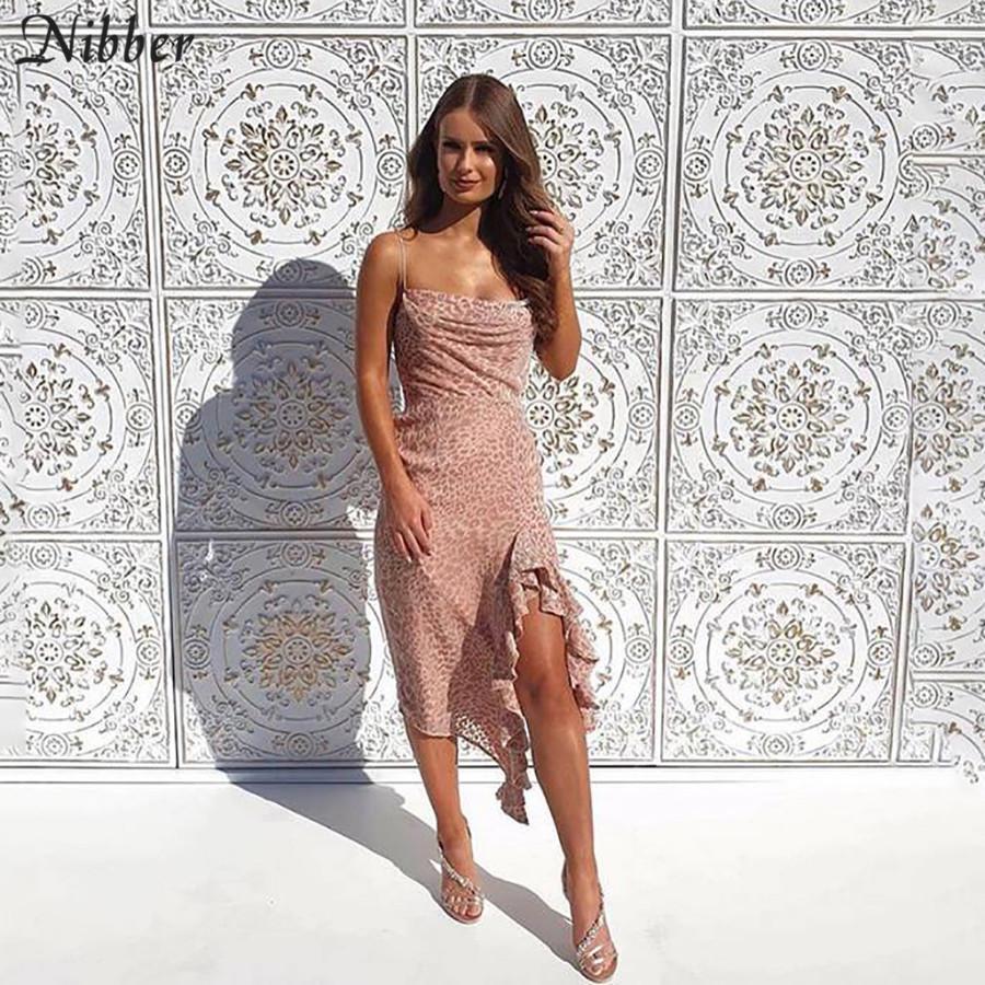 Nibber Pembe leopar baskı Şık dans elbise elbise 2019 fırfır BODYCON Midi Elbise Mujer Y200418 yukarı sonbahar kış kulüp parti dantel womens