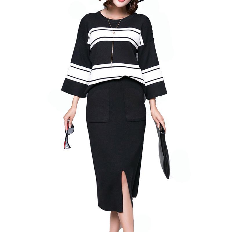 Kış 2 adet Örme Üç çeyrek Kol Triko Etek Suit Elastik Bel Etekler Çizgili Kazak Kadınlar Kıyafetler Mujer ayarlar