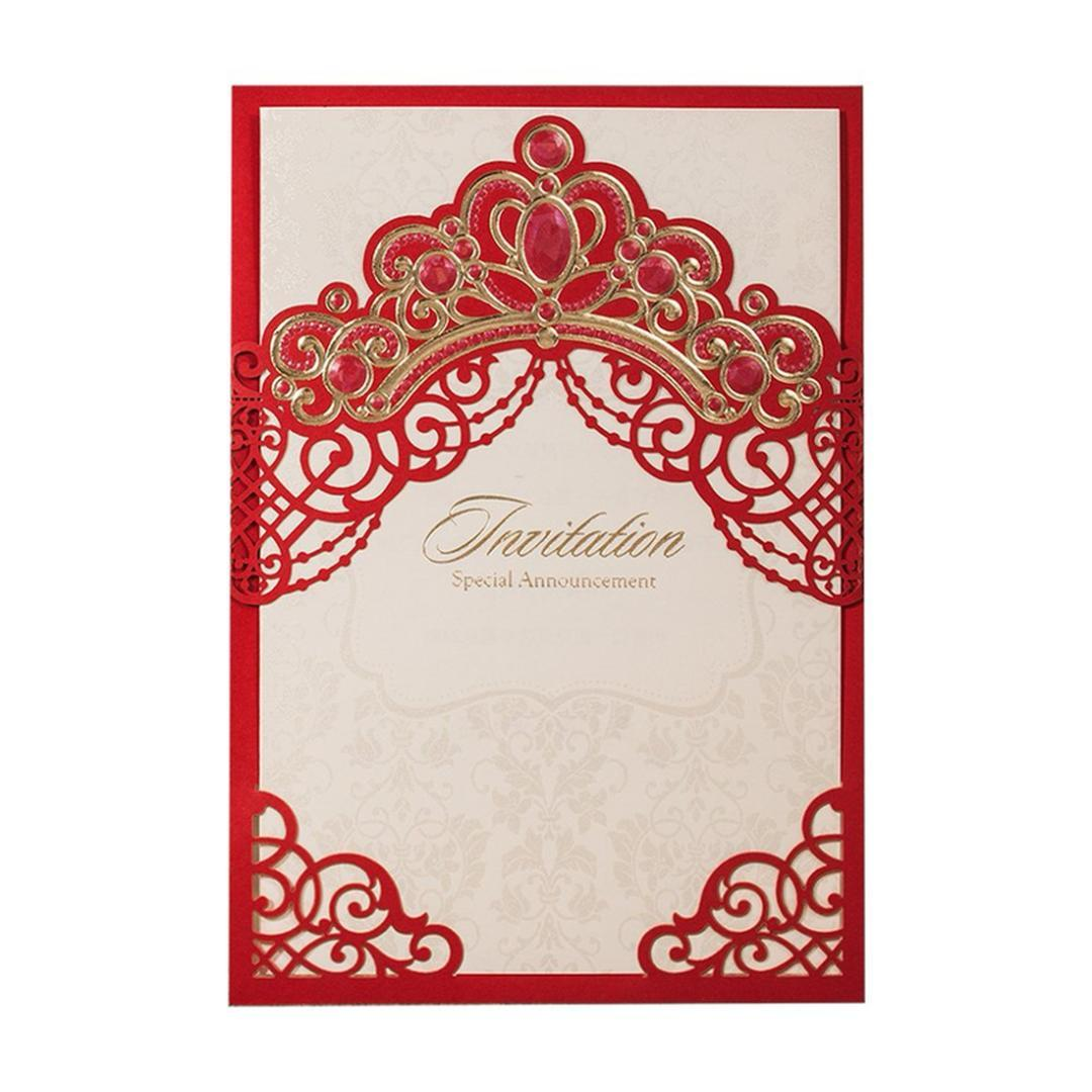 Princess Dream Gold Crown Laser Cut Elegant Wedding Invitations Blank Invitation Card With Envelopes For Quinceanera Boxed Christmas Cards Boxed