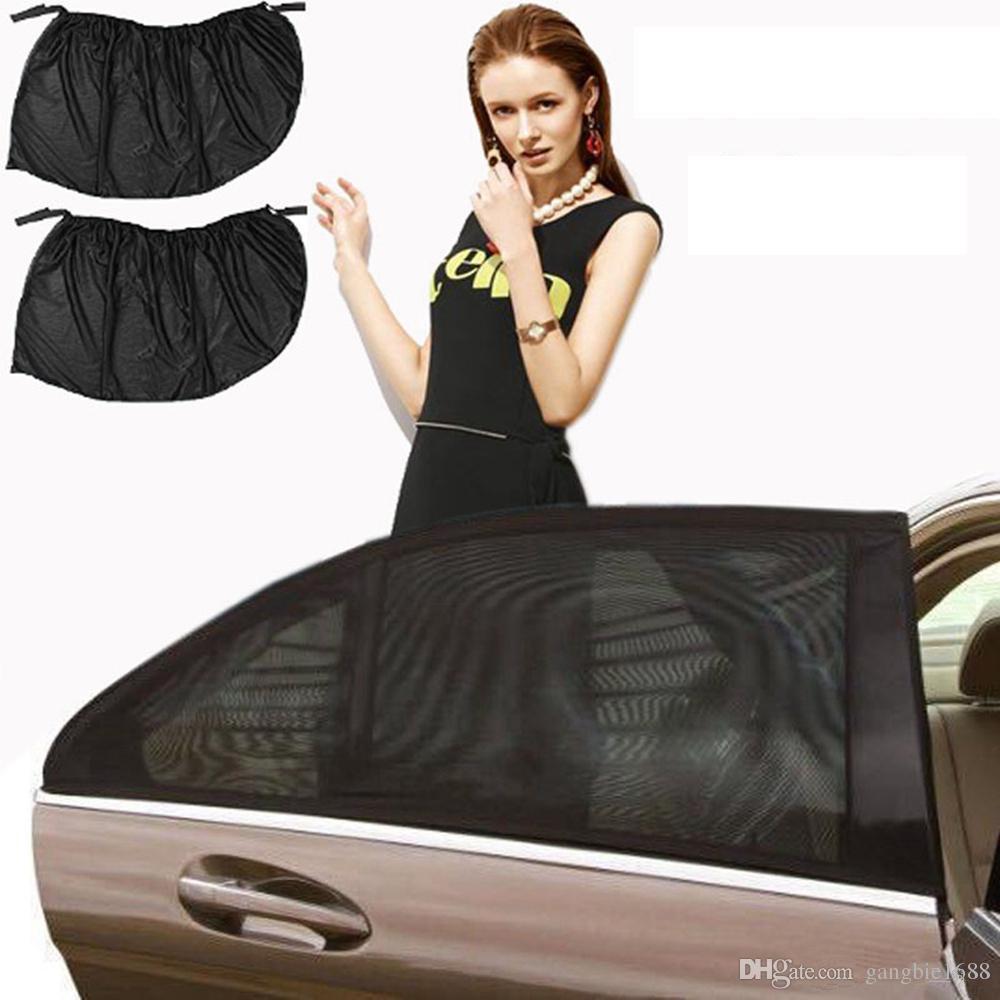 2PCS 자동차 자동 창 측면 파라솔 메쉬 블랙 UV 챙 색조 보호 커버 쉴드 차양 보호기 커버