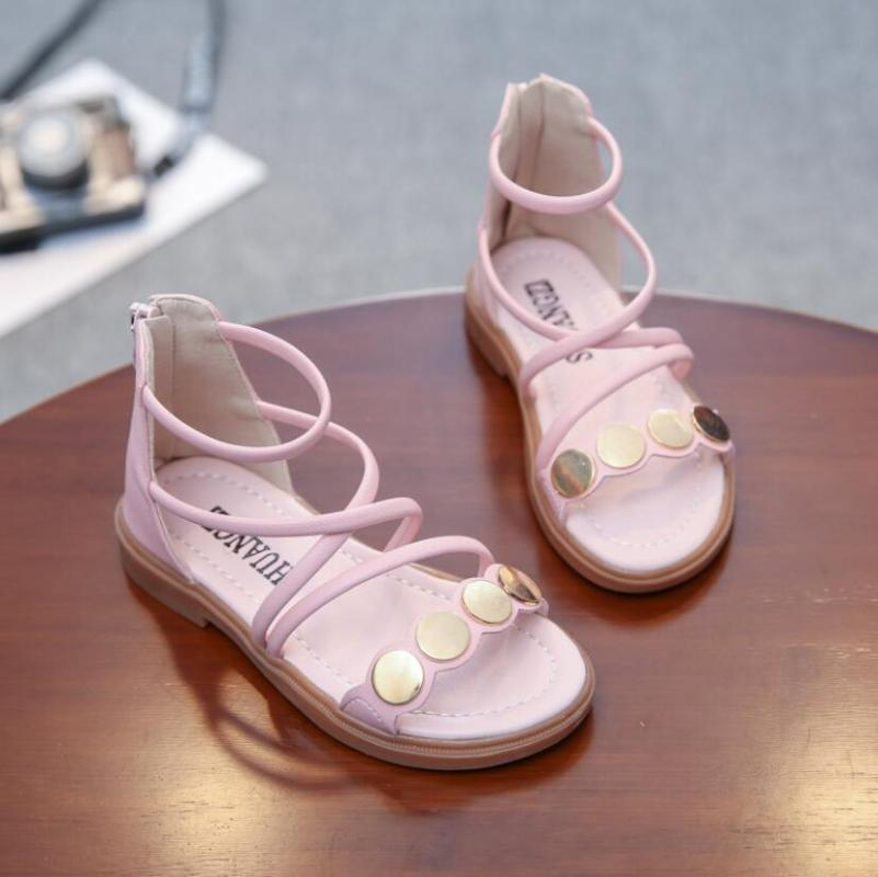 Summer Girls Roman Sandals Fashion Rhinestone Solid Color Beach Sandals Kids Girls Baby Dancing Shoes Priness Shoes size 26-36