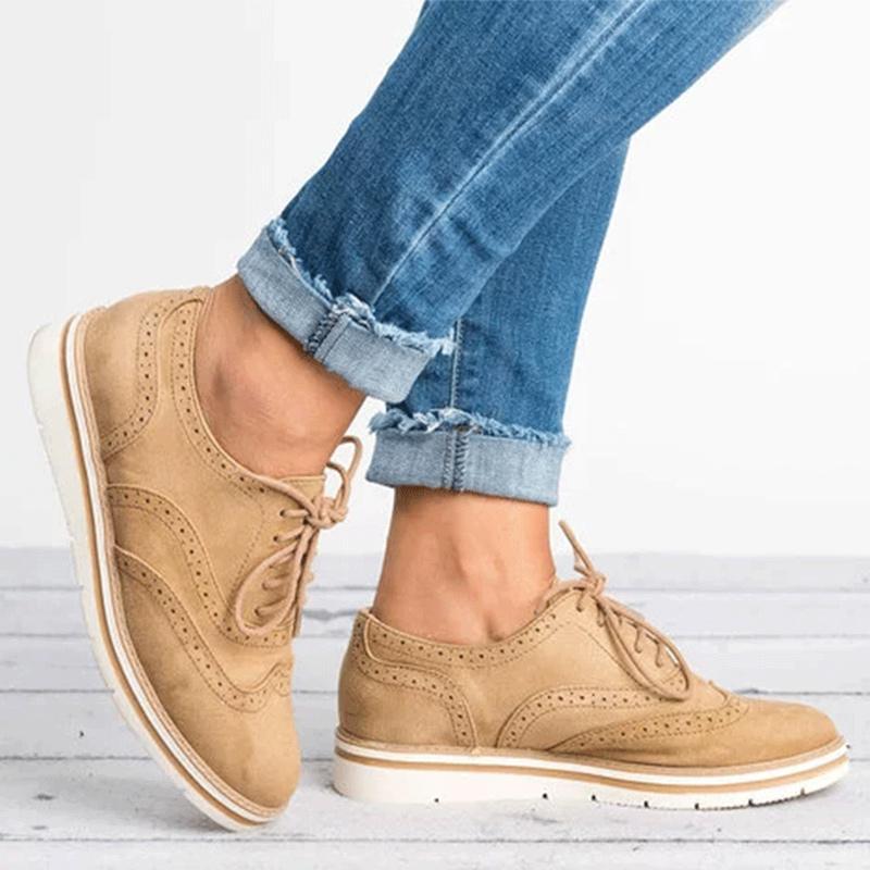 Vente chaude-Femmes Creepers Hollow Femme Chaussures Chaussures Style Plateforme Brogue Soin de lacets pour Dames Flat Up British QJPJD