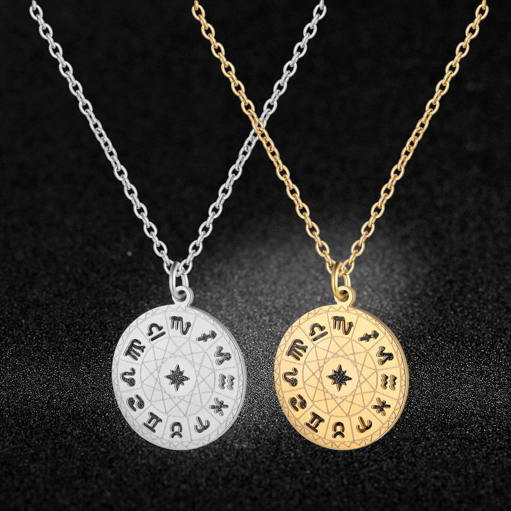 Fabulous 12 Constellation 100% en acier inoxydable Zodiac Collier Charm pour les femmes mode super gros bijoux charme