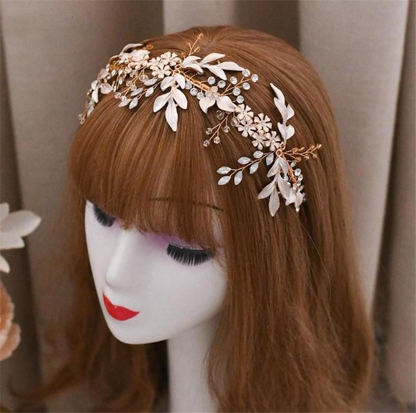 Nouveau mode de mariée Feuille Bandeau Hairband coréenne capitule Couronne Tiara Coiffe Rhinestone Accessoires cheveux Bijoux Diadème