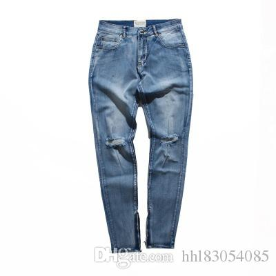 new 2019 high quality cotton hole jeans men ripped pants small feet open chain Slim mens jeans trousers tide brand pencil pants M-XXL