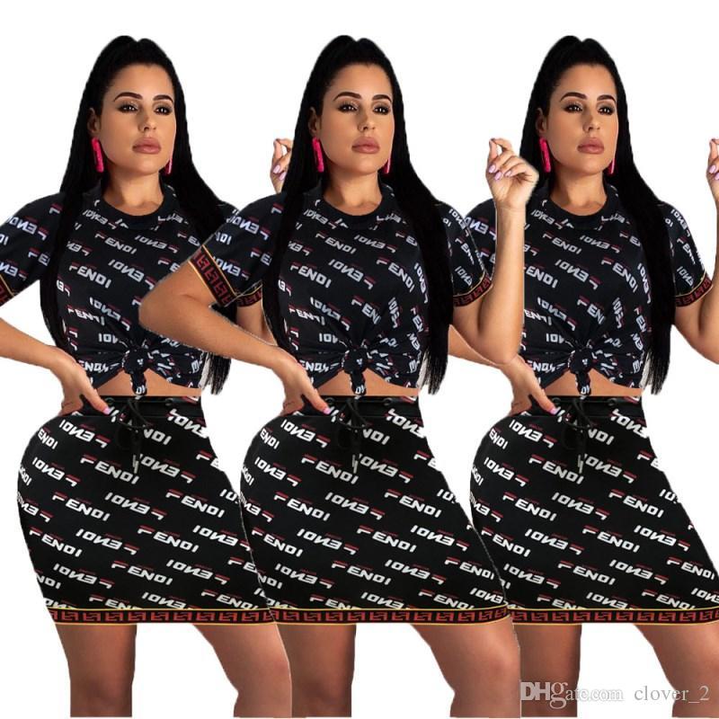 اثنين من قطعة ثوب قصير الأكمام قمم + تنورة bodycon التنانير مصغرة حزب مساء اللباس الصيف رسالة مطبوعة اللباس للسيدات klw1261