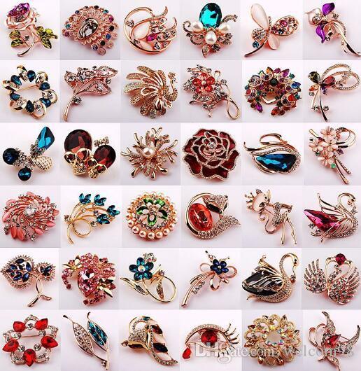 10pcs / lot style de mixage de style cristal broches broches pour bijoux cadeau artisanat BR701 *