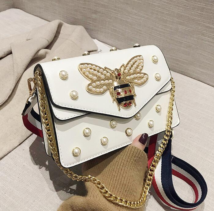 Factory wholesale women handbag street trend Pearl decoration women chain bag flip-studded shoulder bag inside double leather handbag