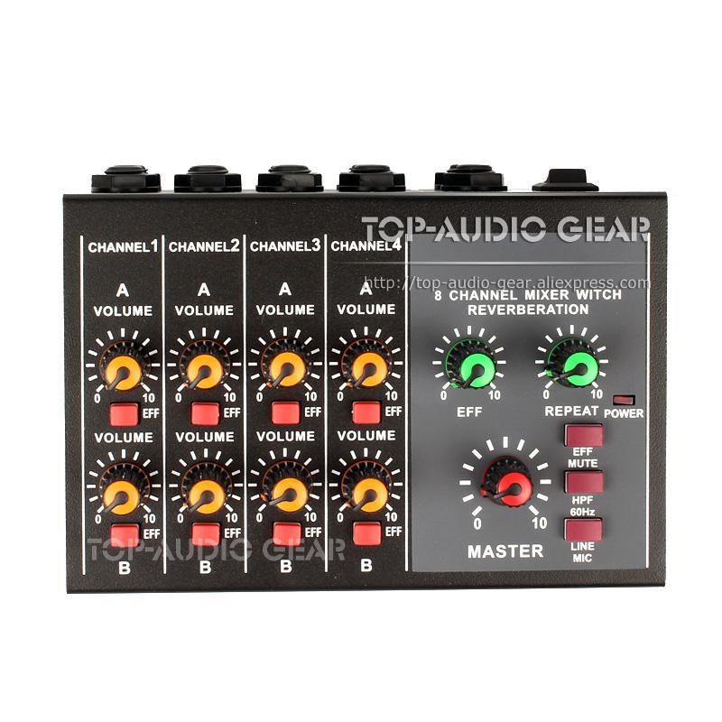 Portátil 4 8 Stereo Mono Quatro oito canais Mixer Audio Line In Out Microfone Hub Input Output DJ eco efeito de mistura Console