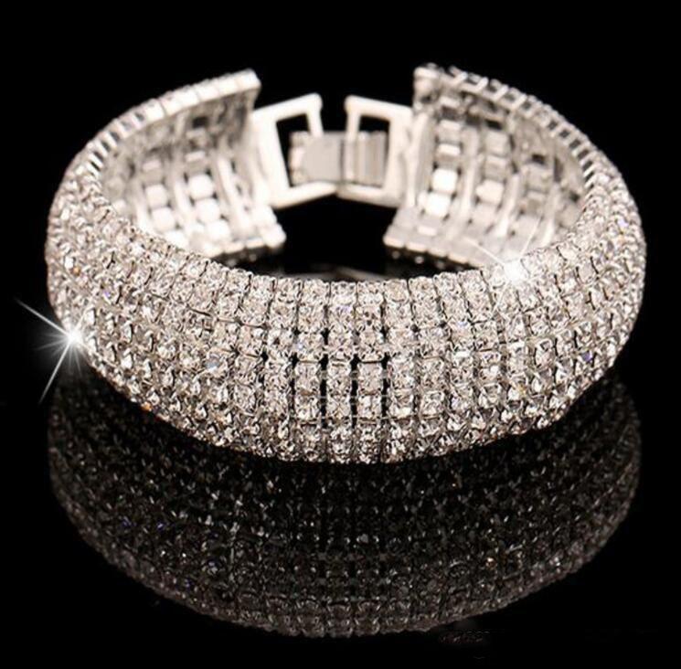 Luxo de Ouro E Prata Clássico De Cristal Pave Link Pulseira Moda Strass Completo de Jóias Para As Mulheres De Noiva pulseira de Presente