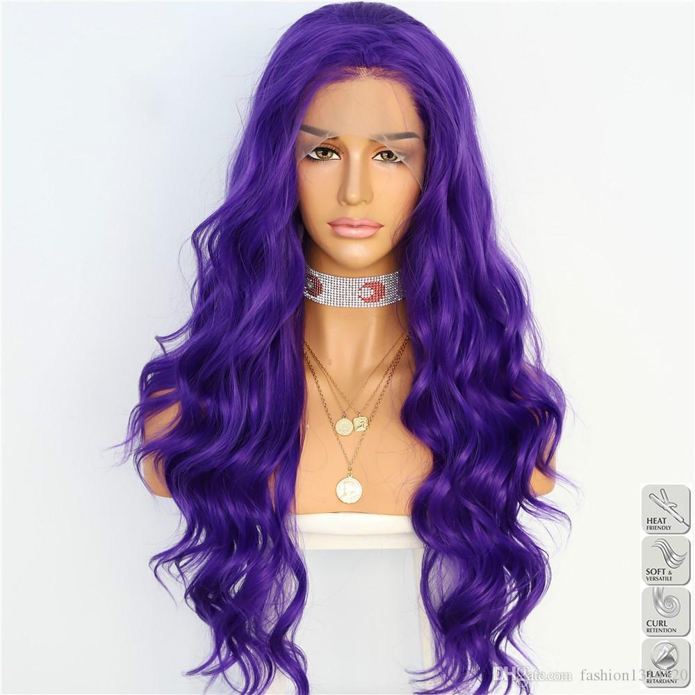13x4 фиолетовый цвет естественная волна жаропрочных волос Ежедневный макияж Женщины подарков Present Свадеб Drag Queen Синтетические парики фронта шнурка