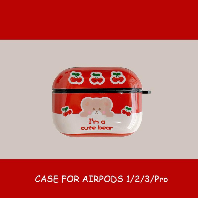 لairpods airpods حالة الموالية 2 1 حالة الأحمر الدب الكرز سماعة الشحن الحال بالنسبة لابل airpods بلوتوث اللاسلكية سماعة غطاء الحقيبة airpod