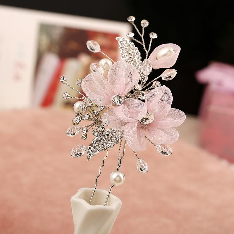 Silver Color Pink Flower Hairpins Pearl Wedding Hair Jewelry Accessories Alloy Crystal Yarn Bridal Women Hair Ornament