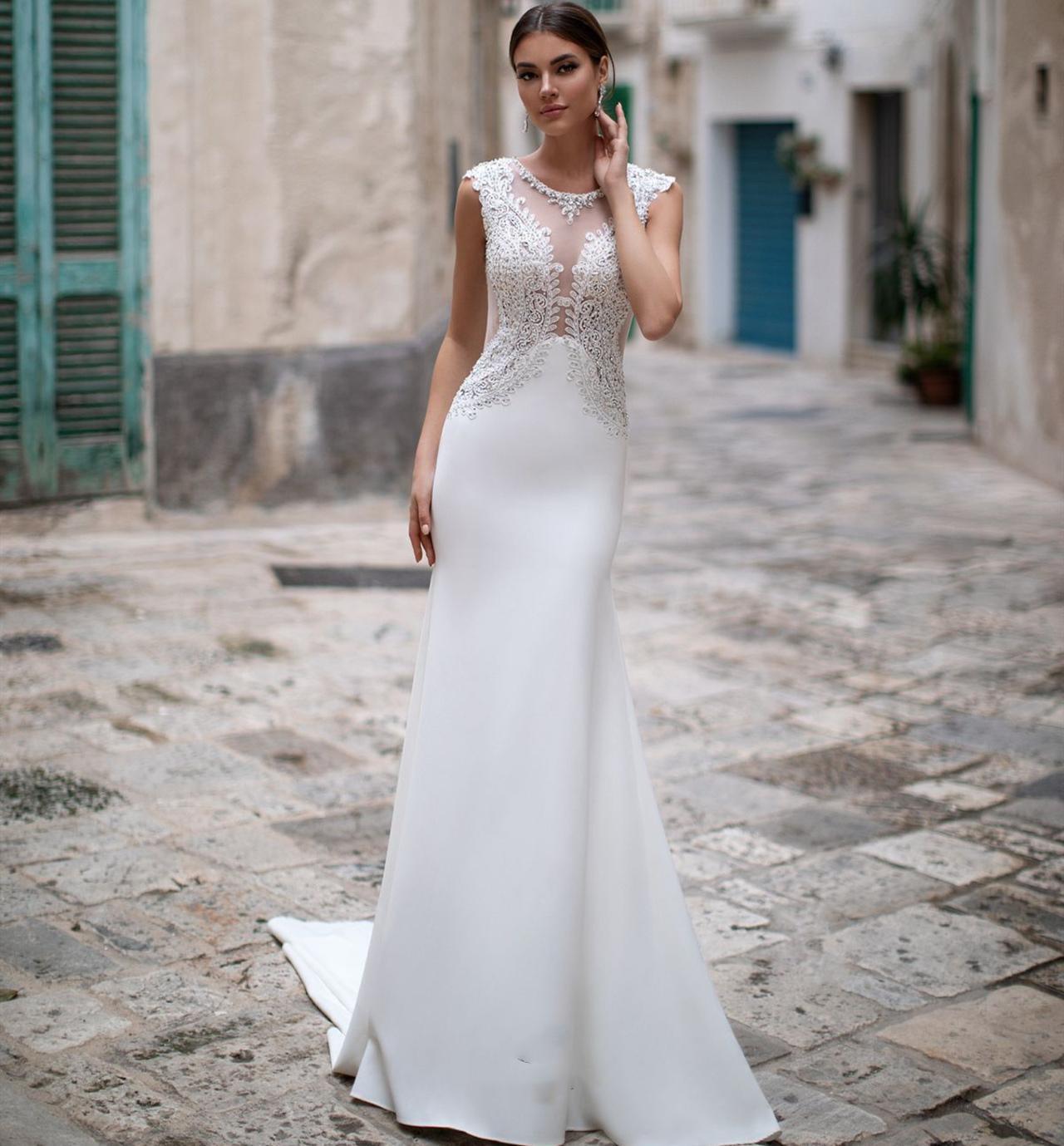 Neue Art-Nixe Brautkleider 20210 O-Ansatz Sleeveless Sweep Zug Friesen Appliques Satin Braut-Kleider Vestidos de novia
