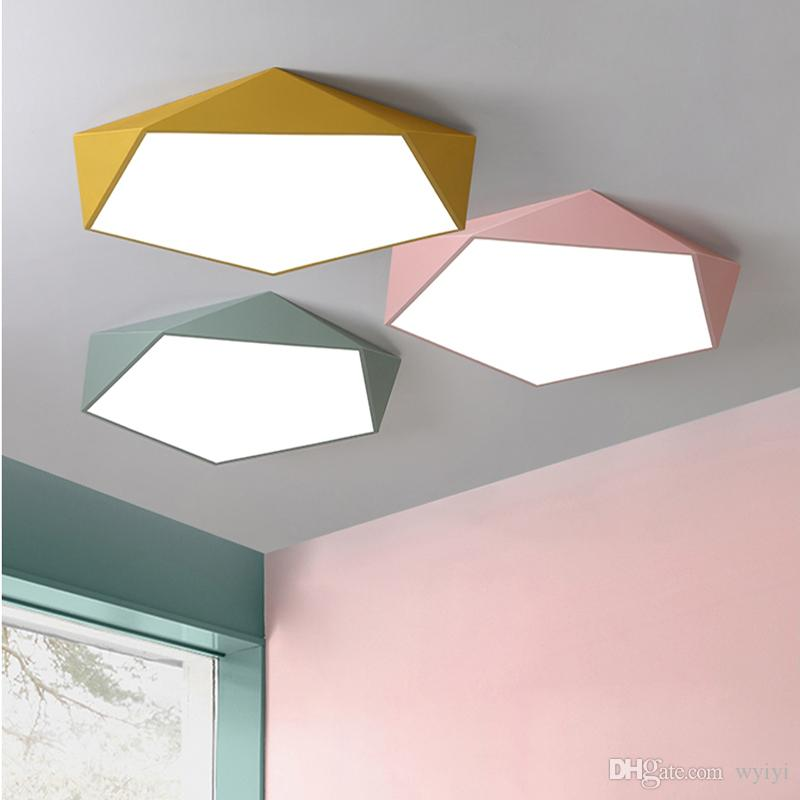 Dimmable LED Lampadari Creative Design Geometria luminaria Soggiorno Corridoio lampada da letto plafond chambre Illuminazione a soffitto AC 90-264V