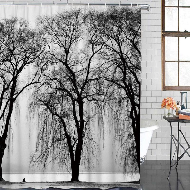 Moderna tenda grigia di paesaggio degli alberi stampato Bagno Doccia cortina di Bagno Decor acquazzone impermeabile del tessuto